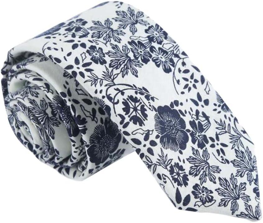 Wukong Direct Formal/Casual Neckties Men Cotton Neckties Beige Blue Flower Neckties Skinny 6cm