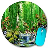 VAMIX Round Mouse Pad,Green Bamboo Summer Outdoor Forest Jungle Waterfall Rock Nature Scenery Art Landscape,Non-Slip Rubber Office Home Mouse Pads Small 7.9x7.9 in Gaming Mousemate