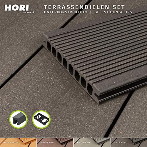 HORI® WPC-Terrassendiele Komplettset Hohlkammer Royal I Fläche: 5 m² I 3,00 m Dielenlänge I Anthrazit