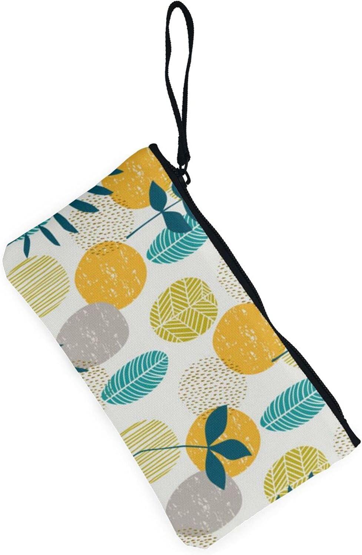 AORRUAM Yello Blue Pineapple Canvas Coin Purse,Canvas Zipper Pencil Cases,Canvas Change Purse Pouch Mini Wallet Coin Bag