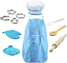 BESTONZON 11pcs Kids Chef Set Children Cooking Play Costume with Chef's Hat Apron Cooking Mitt and Utensils Blue