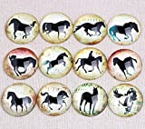 Triangle Box - Mix Horse Silouette Photo Round Glass cabochon 20mm 25mm 30mm DIY Jewelry componnets for Keychain Pendant - 25mm 20pcs