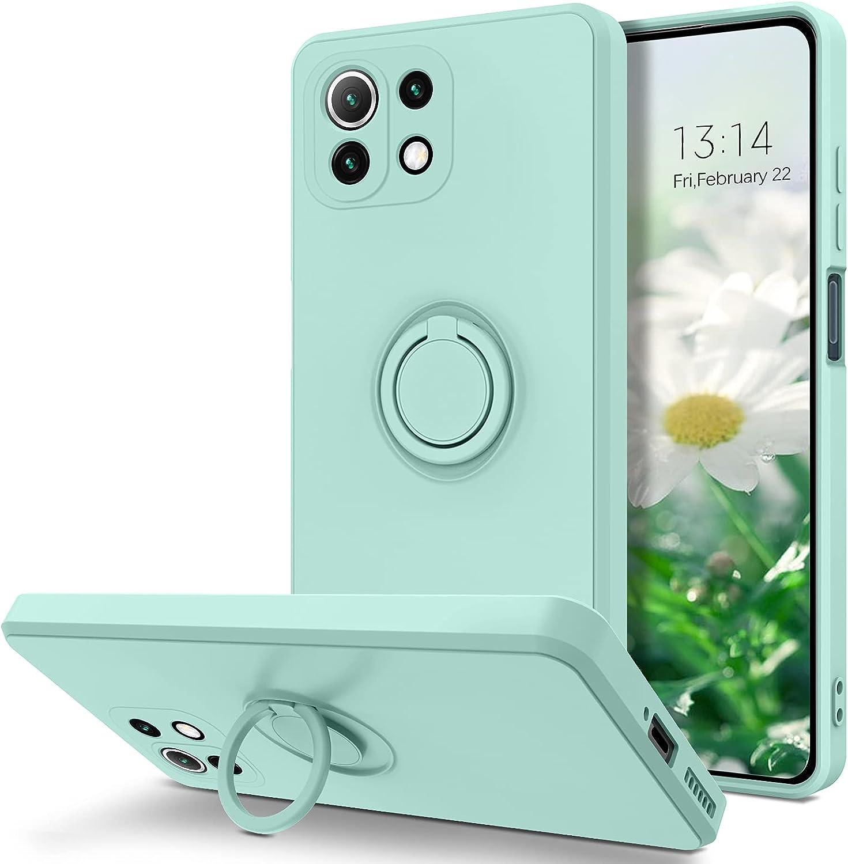 YINLAI - Funda para Xiaomi Mi 11 Lite 4G / 5G de goma líquida con 360° Ring Stand Funda Xiaomi Mi 11 Lite 4G Funda de Silicona Antigolpes Cover para Xiaomi Mi 11 Lite 5G - Cian claro