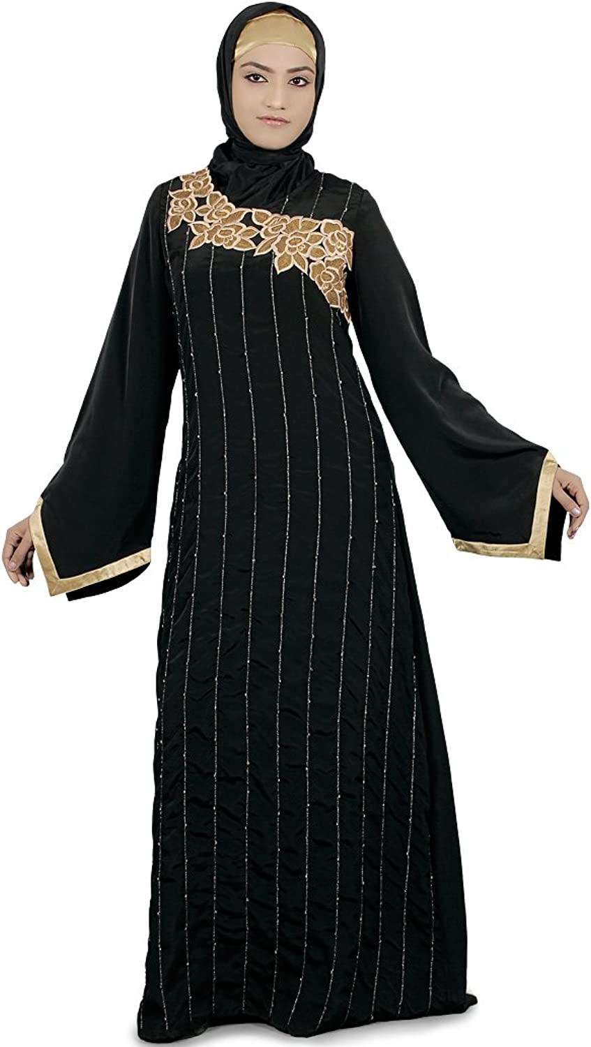 MyBatua Women's Buy Online Muslim Dress Party Wear Liba Abaya in Black