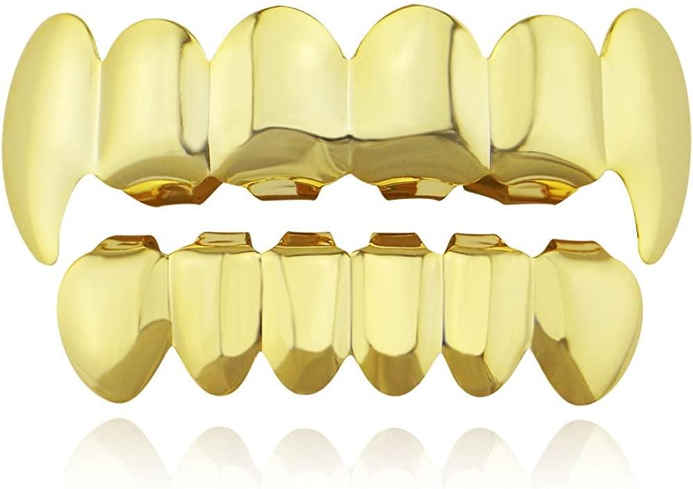 OOCC 18k Gold Teeth Plated Grillz for Men Women Caps Top and Bottom Set for Your Teeth