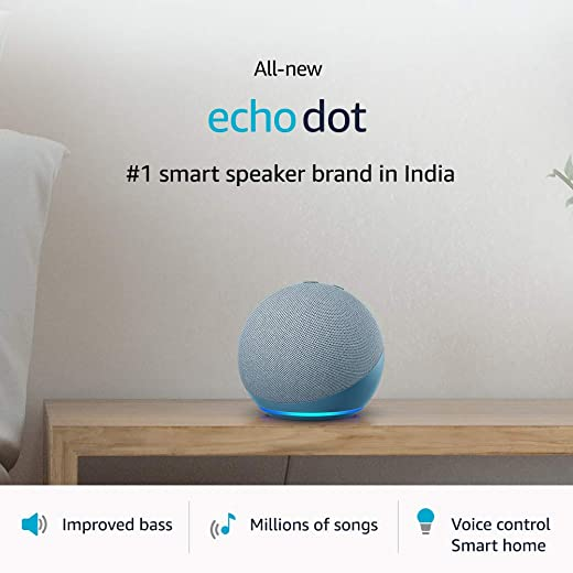 All-new Echo Dot (4th Gen)   Next generation smart speaker with improved bass and Alexa (Blue)