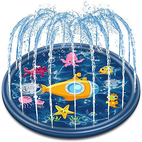 W.KING Al Aire Libre de rociadores Juguetes de Agua para niños y los niños 68', para niños de Verano Splash Pad Juguetes para Niños, espolvorear y Splash Alfombra de Juego con la Lectura de Piscina