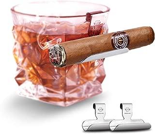Boravis Cigar Glass Holder, 2 Pack Whiskey Glass Cigar Holder,Specially Designed for Whiskey & Cigar Lovers