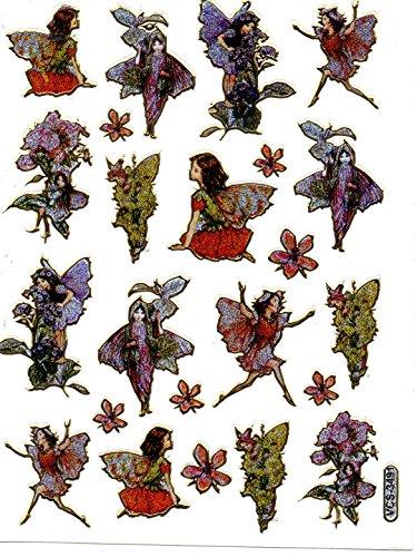 Elfe Fee Blumen Aufkleber 23-teilig 1 Blatt 135 mm x 100 mm Sticker Basteln Kinder Party Metallic-Look