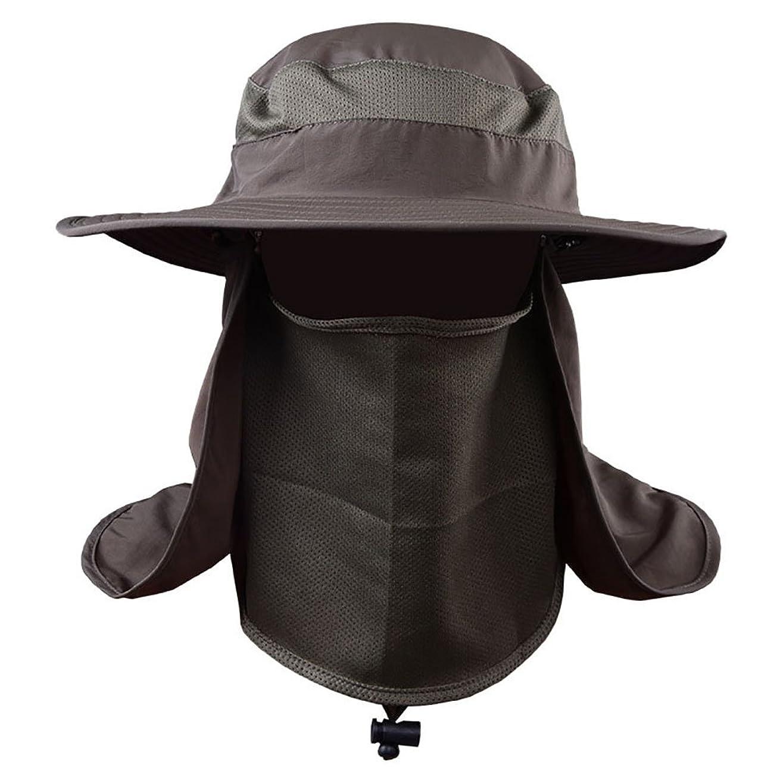 協会評決原点VICOODA UVカット帽子 日焼け防止 つば広帽子 サンバイザー フェイスマスク 速乾 登山 釣り 農作業用 男女兼用 (アーミーグリーン)