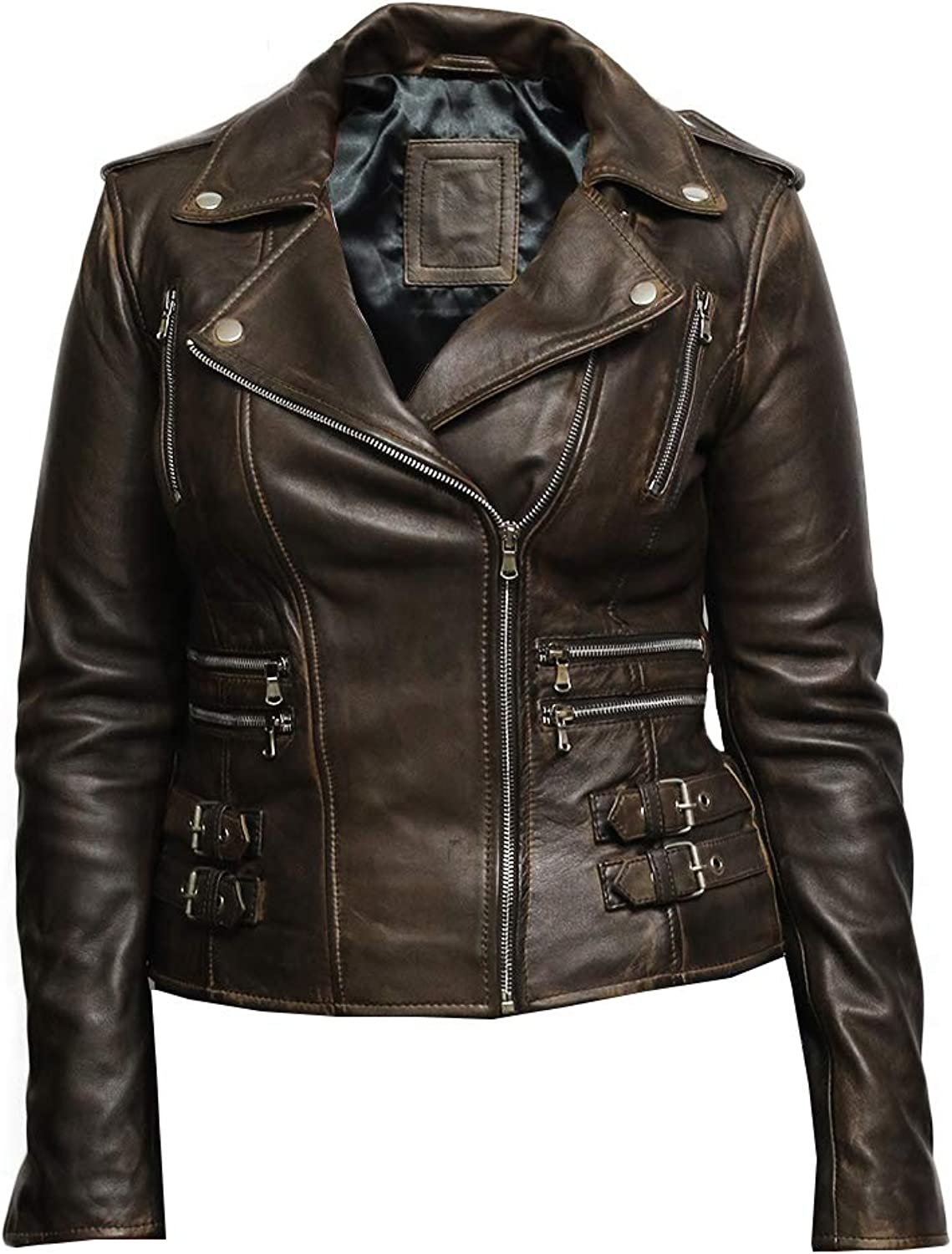 Brandslock Womens Genuine Leather Biker Jacket Fitted Vintage Rock
