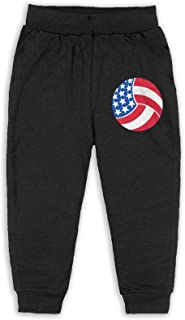 Easionerol Cute USA Volleyball Kids Long Sweatpants Jogger Trousers