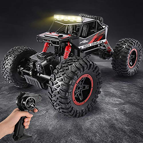 TEMI 1:14 Scale Remote Control Car, 4WD Dual Motors LED Headlight Rock Crawler, All Terrains Electric Toy Off Road RC Monster Vehicle Truck with Two Rechargeable Batteries for Boys Kids and Adults