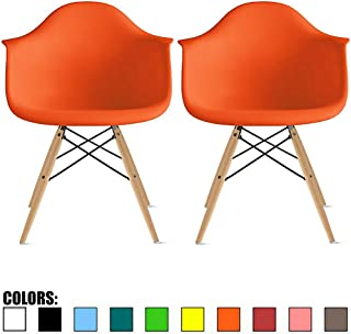 2xhome Set of 2 Orange Mid Century Modern Plastic Dining Chair Molded Arms Armchairs Natural Wood Legs Desk No Wheels Accent Chair Vintage Designer for Small Space Table Furniture Living Room Desk DSW