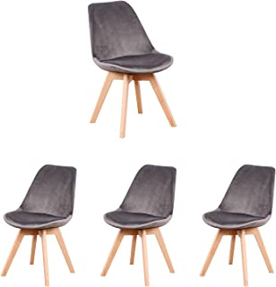 MeillAcc Lot de 4 chaises de Salle à Manger scandinaves - Loisir Moderne en Velours de Siglo - Chaises rétro en Bois de hê...
