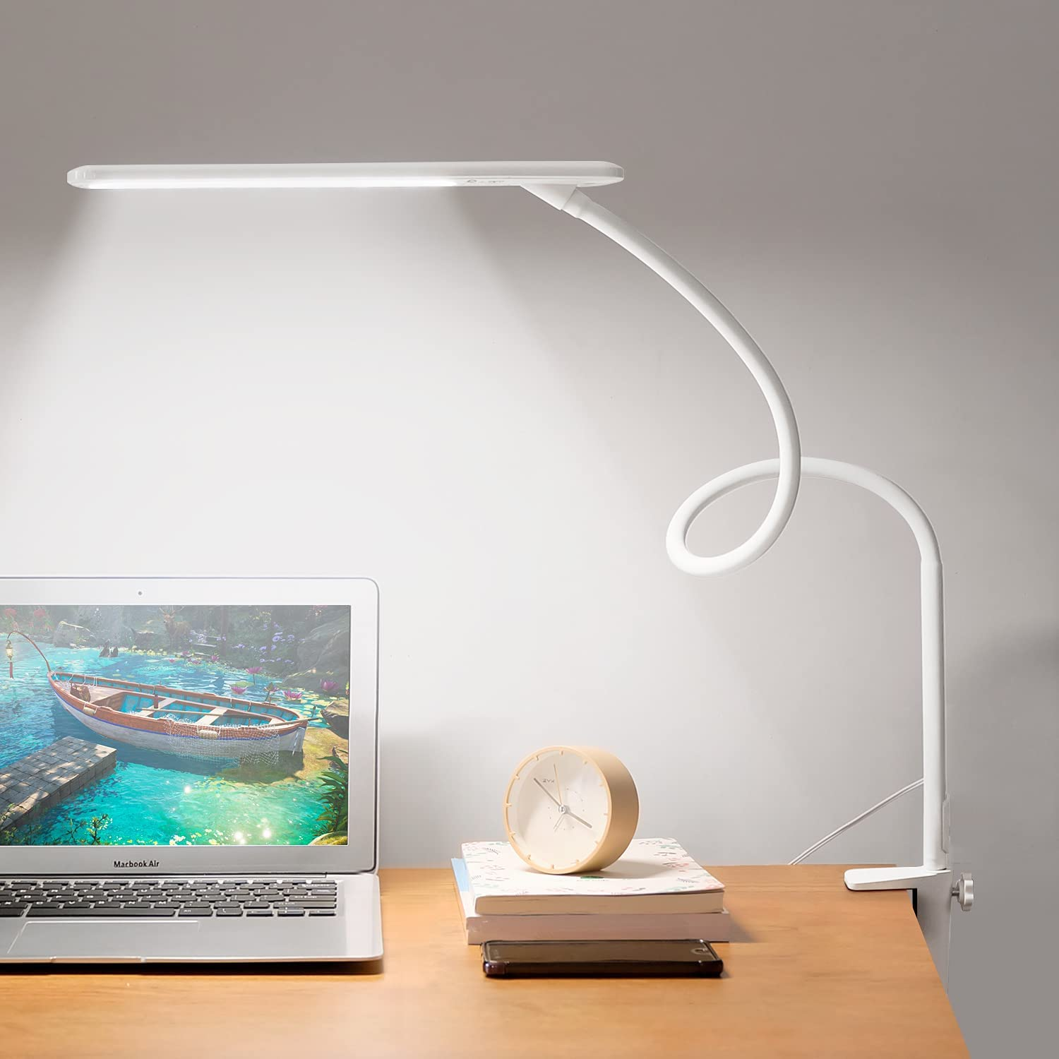 BOLOWEI LED Desk Lamp with White for Clamp Albuquerque Mall Colle Max 42% OFF Small