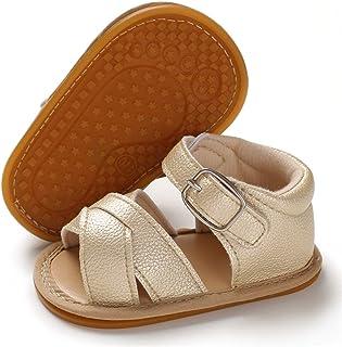 BENHERO Baby Toddler Infant Girls PU Leather Soft Sole Closed Toe Anti-Slip Summer Sandals Flower Princess Flat Shoes