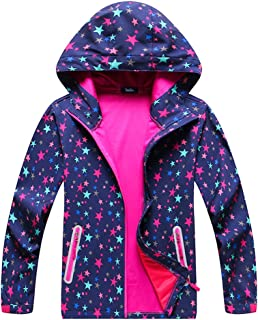 IjnUhb Boys Girls Waterproof Rain Jackets Hooded Raincoats Fleece Lined Windbreakers for Kids Coat