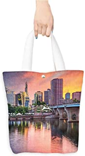 Portable Shopping Bag United States Water Reflection in Evening Urban City Hartford Connecticut Tranquil Sunset es Multicolor (W15.75 x L17.71 Inch)