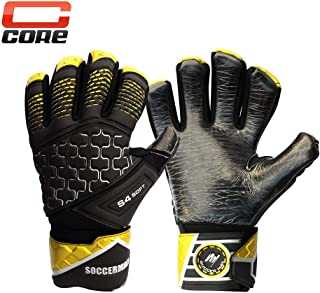 Soccermax Core Youth & Adult Goal Keeper Latex Gloves Negative Cut Strong Grip with Removable Finger Save High Performance Pro Level Goal Keeper Gloves GK Value Gloves Football Soccer Ball