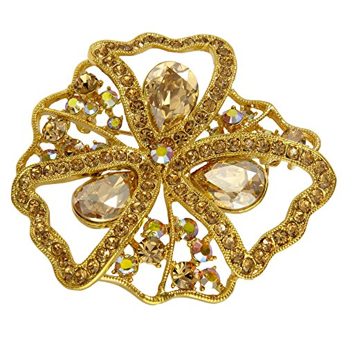 Filigree Antique Style Brooch Pin with Swarovski Crystals (Gold)