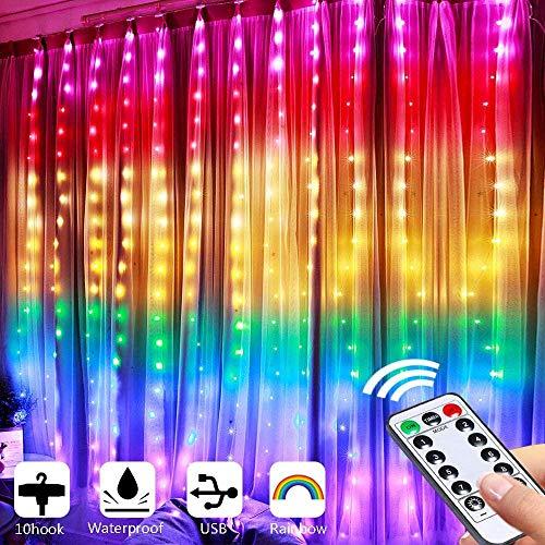 LED Lichtervorhang, 210LEDs Lichterketten Fenster USB 2M*1.5M Regenbogen Fensterleuchten mit 8 Modi Vorhang Lichterketten Wasserfest Lichtervorhang für Außen Innen Party Weihnacht Schlafzimmer