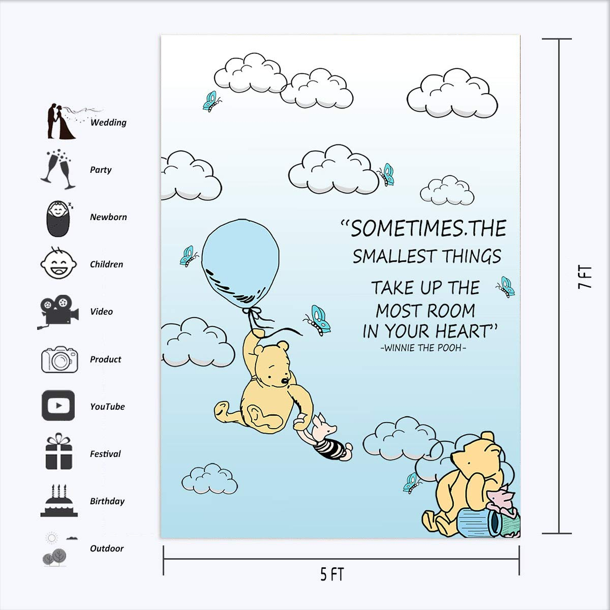CdHBH 10x12ft Cartoon Blue Sky Cloud Hot Air Winnie The Pooh Photo Vinyl Material Portrait Clothing Photo Photography Background Cloth Festival Venue Party Arrangement Wallpaper Home Decor