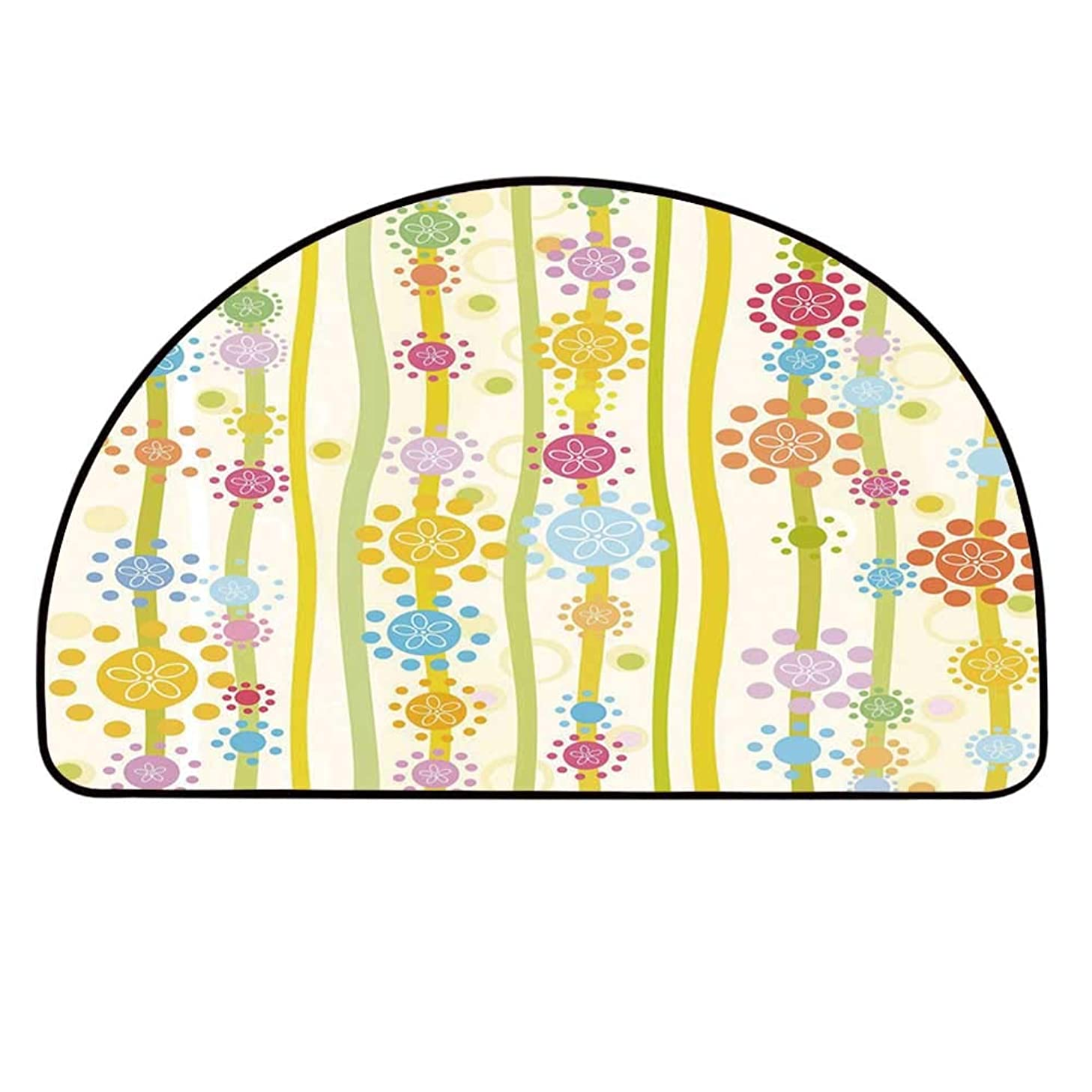 YOLIYANA Floral Doormat,Vertical Lines with Colorful Cartoon Style Flowers and Dots Kids Girls Fun Children Decorative Entryway Mat,11.8