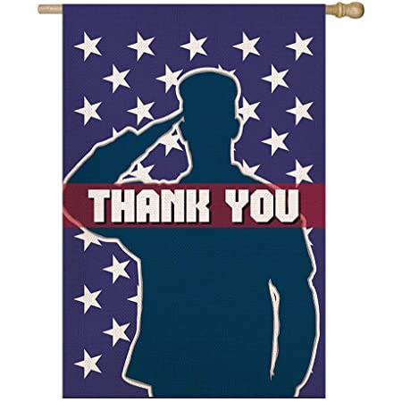 Shmbada Army Thank You Burlap House Flag Double Sided Vertical Patriotic Home Garden Yard Lawn Outdoor Decorative For Memorial Day Veterans Day Fourth Of July 28 X 40 Inch