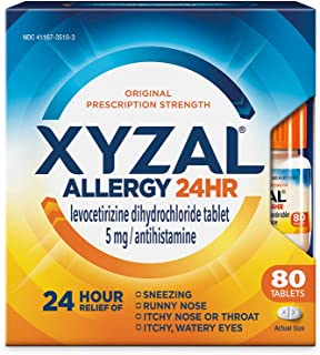 Xyzal Allergy Pills, 24-Hour Allergy Relief, Original Prescription Strength, 80-Count