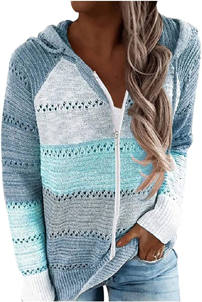 wlczzyn Striped Sweater for Women Lightweight Patchwork Long Sleeve Drawstring Pullover Loose Casual Blouse Tops