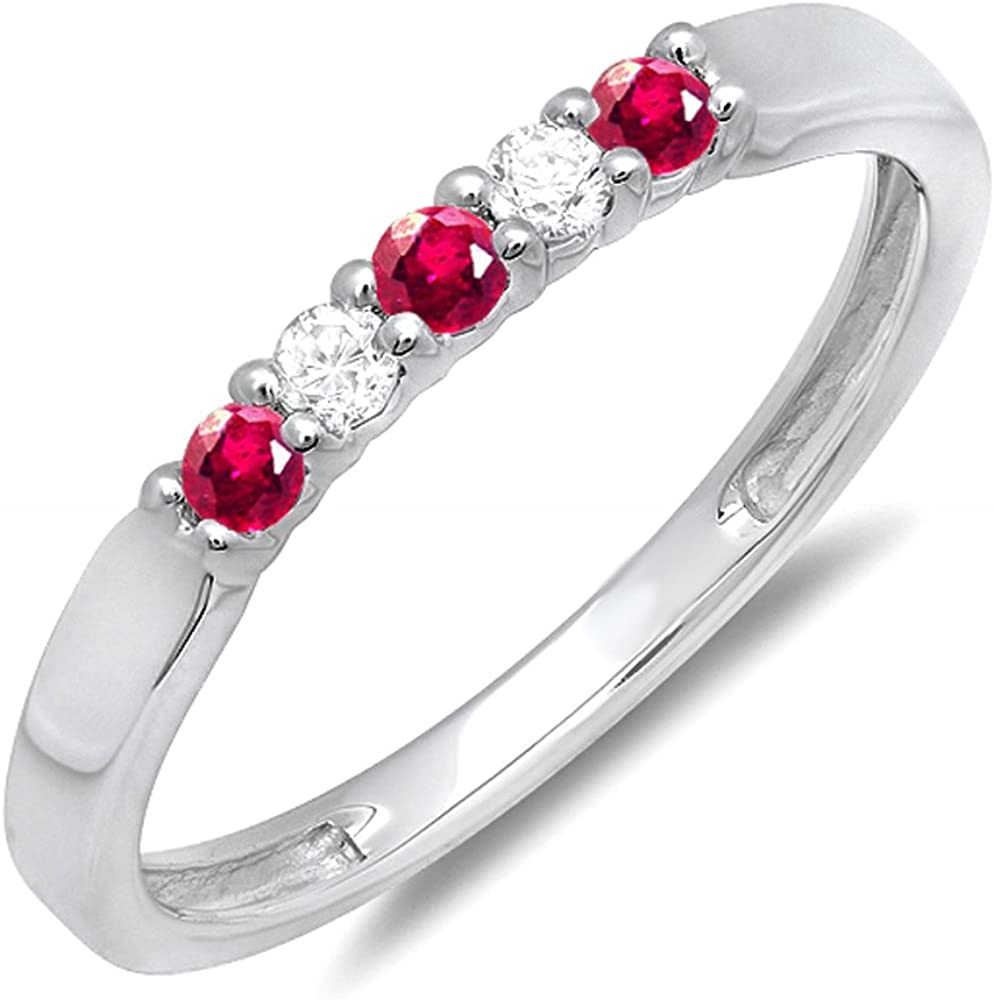 Dazzlingrock Collection 10k Round Ruby And White Diamond 5 Stone Ladies Anniversary Wedding Band Ring, White Gold