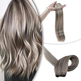 RUNATURE Natural Straight Clip in Remy Hair Extensions Human Hair Light Brown #8 Highlights with Platinum Blonde #60 Piano Color Double Weft Clip in Hair Weave 12