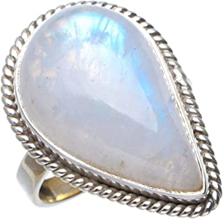 Natural Rainbow Moonstone Handmade Unique 925 Sterling Silver Ring 7.25 B1448