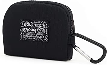 Rough Enough Small Coin Purse for Men Boys Key FOB Case EarBuds Case Credit Card Holder Wallet with Zipper with Keychain Ring Change Pouch Cash Bag Organizer for Girl Women Kids Travel School Party
