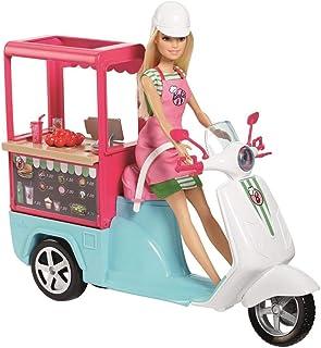 Barbie Métiers Scooter de poupée, Bistrot bleu avec comptoir intégré, accessoires de..
