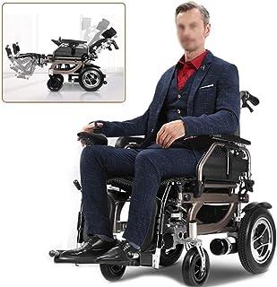 Sillas de ruedas eléctricas para adultos Plegable silla de ruedas eléctrica, silla de ruedas eléctrica Movilidad portátil plegable puede estar planos, apoyo for la cabeza ajustable, Li-ion, la palanca