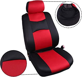 ECCPP Universal Car Seat Cover w/Headrest/Steering Wheel/Shoulder Pads - 100% Breathable Mesh Cloth Stretchy Durable for Most Cars Trucks Vans(Red/Black)