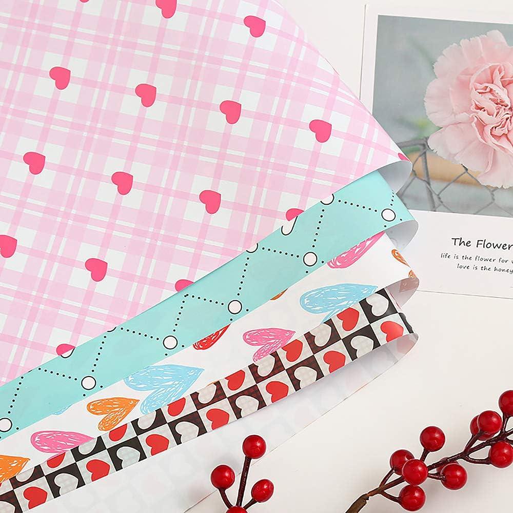 Geschenkpapier,Punkte Streifen Bunt Bedrucktes Papier F/ür Geburtstag Feiertag Hochzeit Valentinstag Weihnachten 8 Gefaltete Bl/ätter 50 x 70 Cm