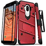 ZIZO Bolt Series Alcatel 7 Case Military Grade Drop Tested with Tempered Glass Screen Protector Holster REVVL 2 Plus Red Black