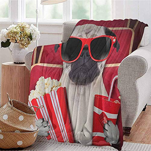 EwaskyOnline Flannel Throw Blanket,PugFunny Dog Watching Movie Popcorn Soft...
