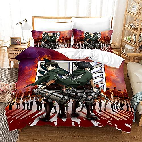 Aatensou Juego de ropa de cama con impresión digital 3D, funda de edredón + 2 fundas de almohada supersuaves para dormitorio, decoración de 3 piezas, con cremallera (A5, 200 x 200 cm + 80 x 80 cm x 2)