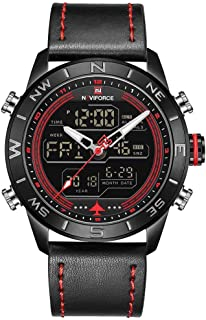 ナイトフォース9144ファッションゴールドメンズスポーツウォッチメンズは、アナログデジタル腕時計ミリタリーレザークオーツウォッチ