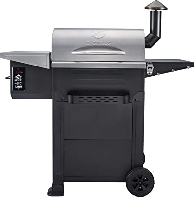 Z GRILLS ZPG-6002E 2020 New Model Wood Pellet Grill & Smoker, 6 in 1 BBQ Grill Auto Temperature Control, Stainless & Bronze