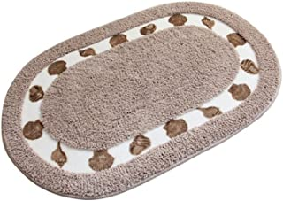Licheng Seashell Pattern Oval-Shaped Microfiber Polyester Rugs for Bathroom (19.6inch by 31.5inch, Camel)