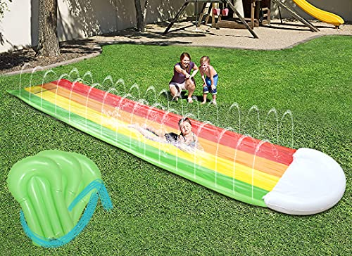 BAUMIGA Slip and Slide Water Slide for Backyard (Updated 2021 Model with 3 Surfboards), Spray Slide and Inflatable Water Slide for Kids Outdoor Party Water Toys for Lawn Garden