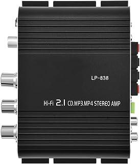 Mini Amplifier Hi-Fi 2.1, Amplificador Digital Estéreo Portátil de Alta Potencia, 15 W x 2 RMS Salida de Potencia+Entrada ...