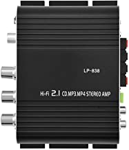 Lazmin Amplificador estéreo Digital, Amplificador de Potencia de Audio de la Caja sólida de la aleación de Aluminio Bass estéreo Hi-Fi 2.1 para el Coche casero(Negro)