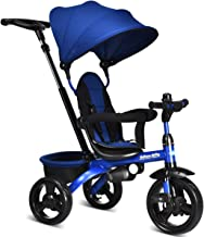 INFANS Kids Tricycle, 4 in 1 Stroll Trike with Adjustable Push Handle, Removable Canopy, Retractable Foot Plate, Lockable Pedal, Detachable Guardrail, Suitable for 10 Months to 5 Years