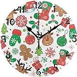 Reloj de Pared Arte Oso de Navidad Blanco Regalo Reloj de Pared Redondo Placa Circular Relojes silenciosos sin tictac para Cocina Oficina en casa Decoración Escolar Niños Niños Niñas
